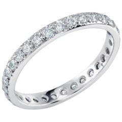 Platinum Micro Pave Diamond Eternity Band Weighting 0.60 Carat