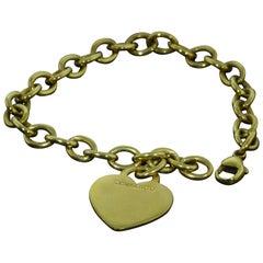 Tiffany & Co. 18 Karat Yellow Gold Charm Bracelet with Engravable Heart Tag