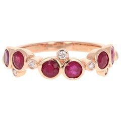 1.40 Carat Ruby Diamond 14 Karat Rose Gold Band