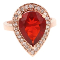 3.65 Carat Fire Opal Diamond 14 Karat Rose Gold Ring