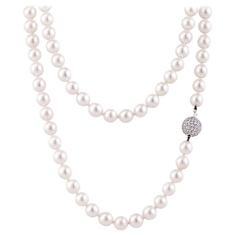 Pearl Necklace With Diamond Ball Clasp 1