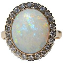 Antique Art Deco Opal Diamond Halo 14 Karat Gold 6 Carat Cocktail Ring