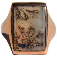 Victorian Dendritic Picture Agate 14 Karat Rose Gold Signet Rectangular Ring