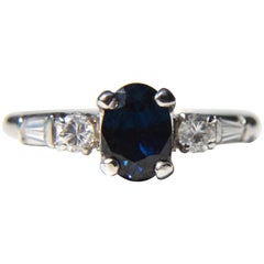 Midcentury Vintage Sapphire Diamond Platinum Engagement Ring .43 Carat