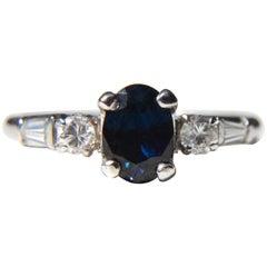 Midcentury Vintage Sapphire Diamond Platinum Engagement Ring .43 Carat