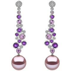 Yoko London Pearl, Diamond, Amethyst and Pink Sapphire Earrings, 18 Karat Gold
