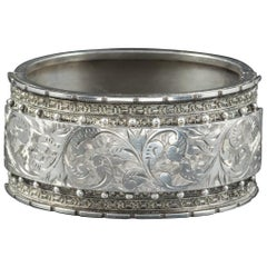 Antique Victorian Sterling Silver Bangle, circa 1880