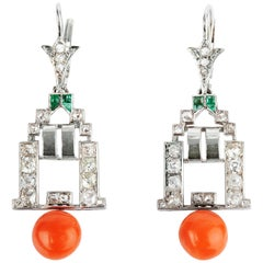 Art Deco Diamond Coral and Emerald Earrings
