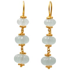 Scrives Translucent Greenish Aquamarine Watermelon 22 Karat Gold Earrings