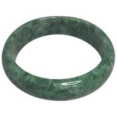 Certified Untreated Jadeite Jade Bangle Bracelet Mottled Green 88.5g