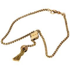 Edwardian 9 Karat Gold Slider and Tassel Necklace