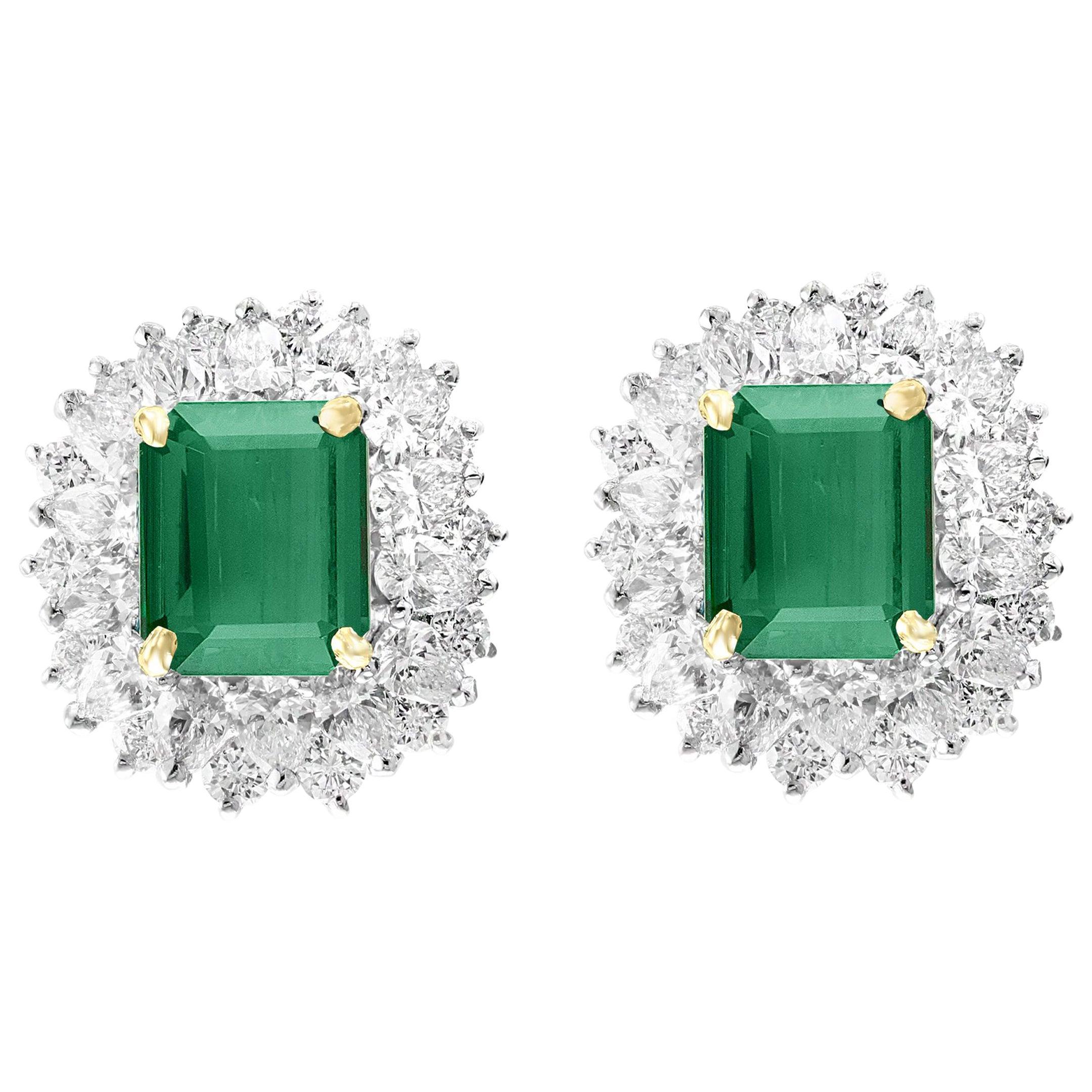 Oscar Heyman AGL Certified Tradition Colombian Emerald Diamond Earring Platinum
