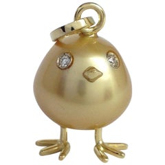 Baby Chick Australian Pearl Diamond Yellow 18 Karat Gold Pendant or Necklace