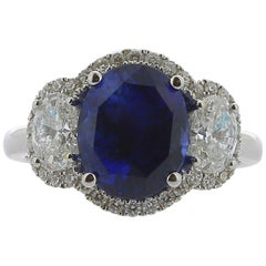 5.56 Carat Ceylon Royal Blue Sapphire Cocktail Ring Set with Round/Oval Diamond