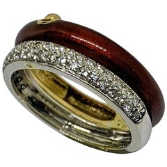 Yellow and White 18 Karat Gold Ring Diamonds and Red Enameled