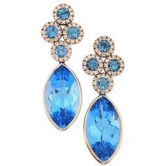 18 Karat White Gold, Blue Topaz '65.76 Carat', Diamond '1.63 Carat' Earring