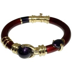 Enameled Red and Blu Navy on a Yellow Gold 18 Karat Bangle