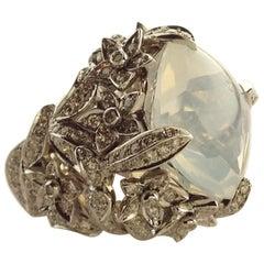 Paolo Piovan White Quartz Diamonds White Gold Cocktail Ring