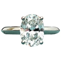 Tiffany & Co. Platinum and Diamond Oval Solitaire 2.01 Carat