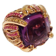 Paolo Piovan Yellow Diamonds Pink Sapphires Amethyst Pink Gold Cocktail Ring