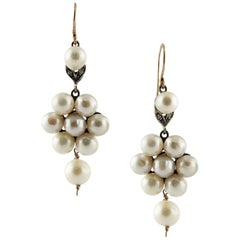 Diamond Pearl Rose Gold and Silver Flower Shape Earrings