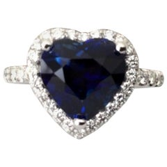 3.79 Carat Natural Unheated Royal Blue Sapphire and Diamond Ring GIA Certified