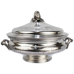 Ornate Portuguese Solid Silver Covered Tureen or Covered Vegetable Bowl