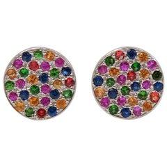 Multi-Color Sapphire Tsavorite 18 Karat White Gold Stud Earrings
