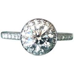 Tiffany & Co. Platinum and Diamond Round Engagement Ring 1.29 Carat