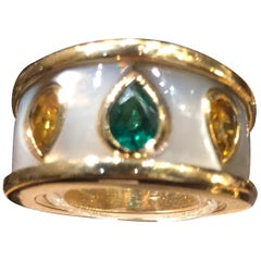 Mellerio Ring Emerald Yellow Sapphire and Mother of Pearl