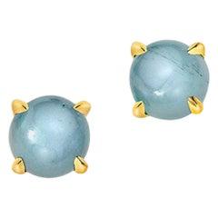 Wendy Brandes Cabochon March Birthstone Aquamarine Stud Earrings