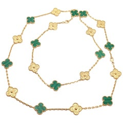 Van Cleef & Arpels Special Vintage Alhambra Two Malachite Yellow Gold Necklaces