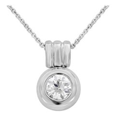 0.91 Carat Round Diamond Bezel Pendant Necklace