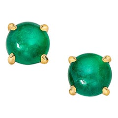 Wendy Brandes May Birthstone Emerald Cabochon Stud Earring, Pair