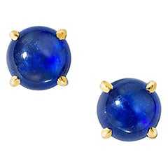Wendy Brandes September Birthstone Blue Sapphire Cabochon Stud Earring, Pair