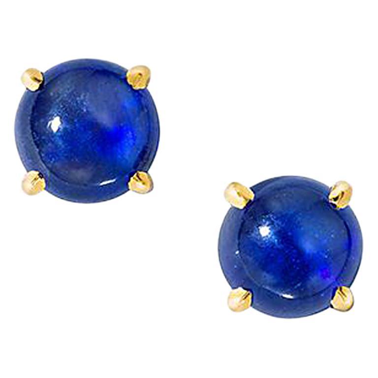 Wendy Brandes Cabochon September Birthstone Blue Sapphire Stud Earrings For Sale