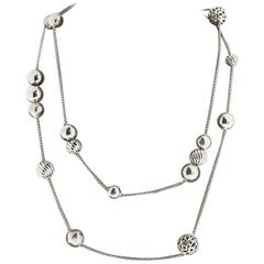 David Yurman Elements Sterling Silver Beads and Box Chain Necklace
