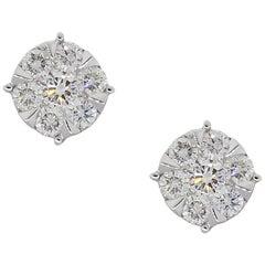 Round Brilliant Diamond Cluster Stud Earrings