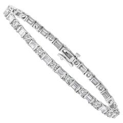 Alternating Round and Baguette Diamond Tennis Bracelet