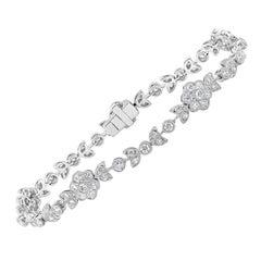 Antique-Style Round Diamond Flower Tennis Bracelet