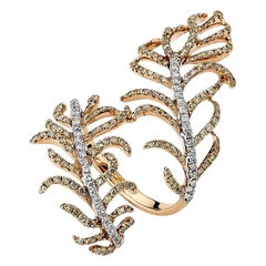 Diamond Feather Ring 18 Karat Yellow Gold
