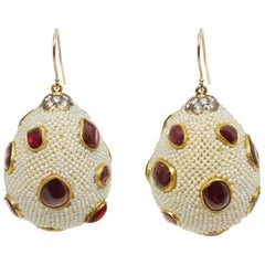 Ruby, Pearl, Diamond and Gold Drop Earrings
