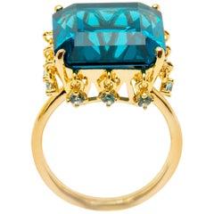 Blue Topaz Crown Vermeil Gold Ring