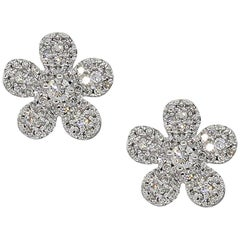 Diamond Pave Cluster Flower Earrings
