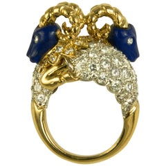1960s Donald Claflin for Tiffany & Co. Carved Lapis and Gold Ram Ring