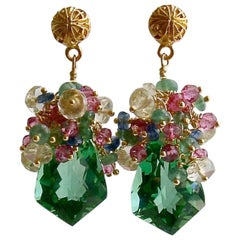 Green Amethyst, Emerald, Pink Topaz, Kyanite, Scapolite Cluster Earrings, Elena