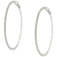 11 Carat Round Diamond White Gold Hoop Earrings