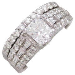 GIA Certified 2.50 Carat Radiant-Cut Diamond Bridal Set