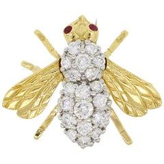 Diamond & Ruby Bee Brooch Pin