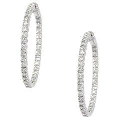 3.5 Carat Round Diamond White Gold Hoop Earrings